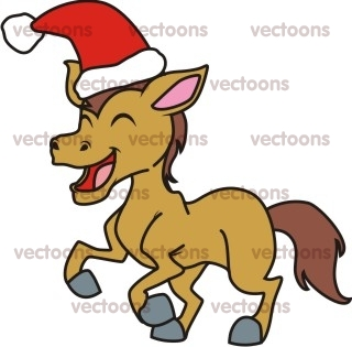 Christmas Horse Cartoon.Joyful Horse Christmas Illustration Horse Animals Buy