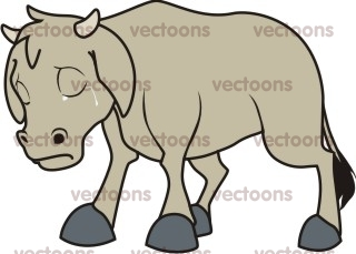 Vector Line Art Animals : Sad cattle illustration cow animals buy clip art