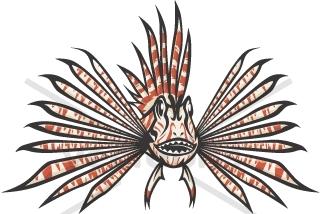 Wild Lionfish in Black - Animals - Buy Clip Art   Buy ...